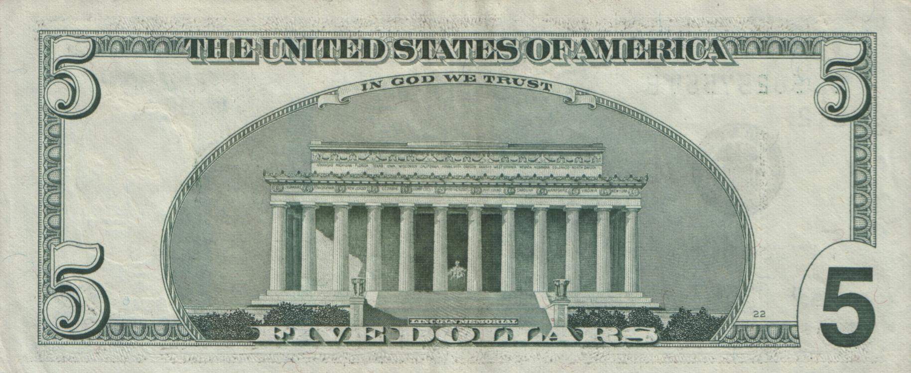Сша пять долларов usa five dollars